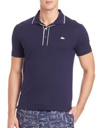 Lacoste | Blue Striped Pique Polo for Men | Lyst