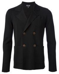 Giorgio Armani Black Double Breasted Blazer for men