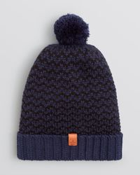 Bickley + Mitchell Blue Bickley + Mitchell Chevron Knit Pom Pom Hat - Bloomingdale'S Exclusive for men