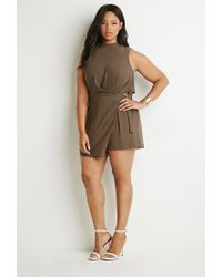 Forever 21 - Gray Plus Size Layered Cutout-back Romper - Lyst