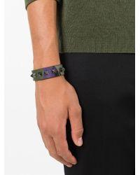 Valentino - Green 'Rockstud' Camouflage Bracelet for Men - Lyst