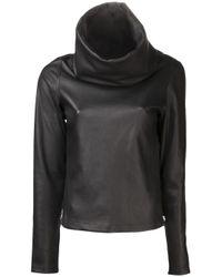 Jean Paul Gaultier | Black Leather Cowl Neck Top | Lyst