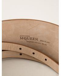 Alexander McQueen Brown Double Buckle Strap Wide Belt