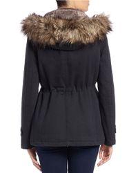 MICHAEL Michael Kors | Black Faux Fur-trimmed Parka | Lyst