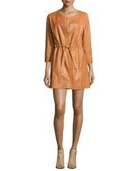 Lafayette 148 New York | Orange Jonas Leather Topper Jacket | Lyst