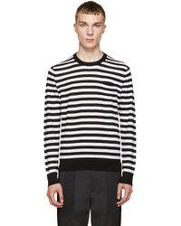 Dolce & Gabbana - Black & White Striped Wool Sweater for Men - Lyst