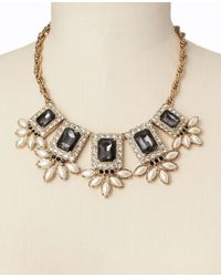 Ann Taylor - Gray Crystal Marquis Cluster Statement Necklace - Lyst
