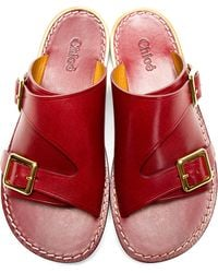 Chloé Red Leather Slip_on Sandals