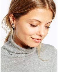 ASOS - Gray Flower Double Earrings - Lyst