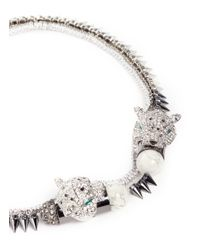 Venna | White Crystal Jaguar Head Pyramid Spike Necklace | Lyst