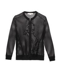 Stella McCartney Black Embroidered-Mesh Bomber Jacket