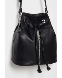 Forever 21 - Black Faux Leather Bucket Bag - Lyst