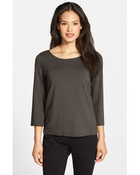 Eileen Fisher | Gray Ballet Neck Tee | Lyst