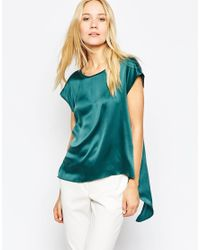 Pop Cph Blue Sand-washed Silk Top