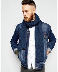 ASOS - Wool Mix Scarf In Blue Twist for Men - Lyst