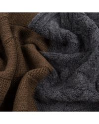 Paul Smith Gray Men's Grey And Brown Mixed Cable Knit Wool Scarf for men