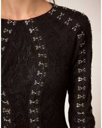 ASOS | Black Lace Dress With Hook & Eye Detail | Lyst