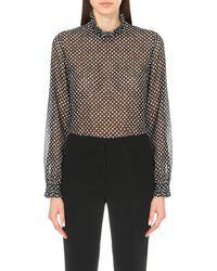 Saloni Black Emile Polka-dot Sheer Shirt