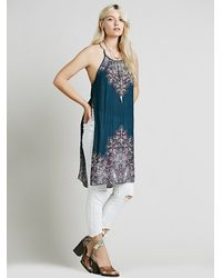 Free People - Blue Womens Border Print Maxi With Slits - Lyst