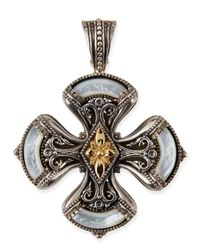 Konstantino - Metallic Silver & 18K Gold Mother-Of-Pearl Clover Cross Pendant - Lyst