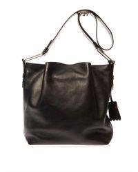 Tod's Black Flower Medium Leather Shoulder Bag