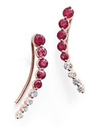 Anita Ko - Red Graduated Floating Diamond And Ruby Single Earring - Lyst