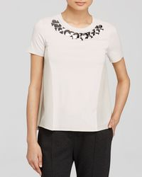 Weekend by Maxmara Natural Tee - Licenza Embellished Neck Silk Inset