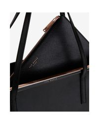 Ted Baker Black Celiaa Crosshatch Leather Shopper Bag