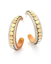 John Hardy | Metallic Dot Buffalo Horn, 18k Yellow Gold & Sterling Silver Hoop Earrings/1.75 | Lyst