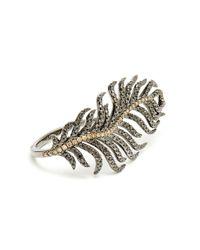 Rosa De La Cruz - Black 18k Gold and Diamond Feather Ring - Lyst