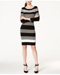 Vince Camuto Black Long-sleeve Striped Sweater Dress