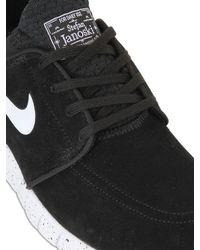 Nike Black Sb Janoski Max Faux Suede Sneakers for men