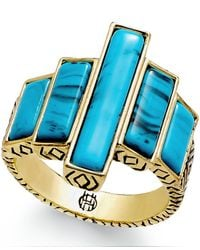 House of Harlow 1960 | Metallic Gold-tone Imitation Turquoise Bar Ring | Lyst