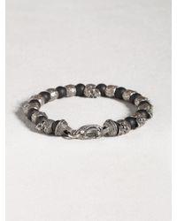 John Varvatos - Black Skull & Onyx Beaded Bracelet for Men - Lyst