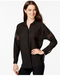 Calvin Klein Jeans - Black Button-front Lace-inset Shirt - Lyst