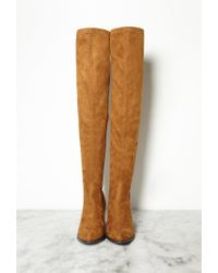 Forever 21 | Brown Thigh-high Faux Suede Boots | Lyst