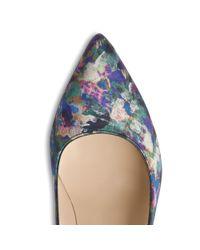 L.K.Bennett Blue Fern Aurora Print Pointed Toe Court Shoe