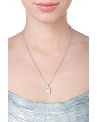 Anita Ko | 18kt White Gold Leaf Pendant Necklace With Diamonds - Silver | Lyst