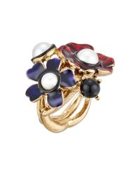 Oscar de la Renta | Metallic Flower Ring | Lyst