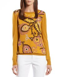 Gucci - Orange Paisley Printed Silk Front Knit - Lyst