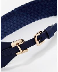 Pieces | Blue Elastic Buckle Waist Belt | Lyst