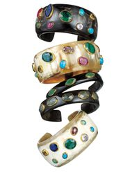 Ashley Pittman | Refu Dark Horn Cuff With Green Onyx | Lyst