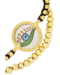 Iam By Ileana Makri Metallic Set Of Two Goldplated Pyrite and Cord Bracelets