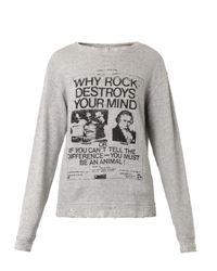 R13 Gray Punk-Print Distressed Sweatshirt