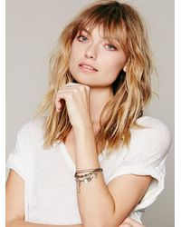 Free People - Gray Engraved Disc Layered Bracelet - Lyst