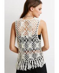 Forever 21 Natural Fringed Floral Crochet Vest