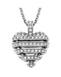 Swarovski | Metallic Rhodiumplated Small Crystal Sensible Heart Pendant Necklace | Lyst