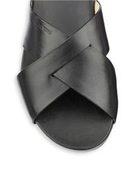 MICHAEL Michael Kors | Black Somerly Leather Slides | Lyst