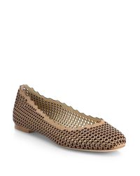 Chloé - Natural Leather Scalloped Ballet Flats - Lyst