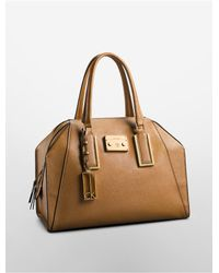 Calvin Klein | Brown White Label Galey Saffiano Leather Dome Satchel | Lyst